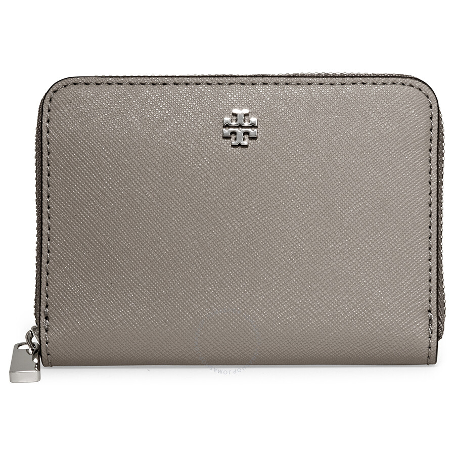 8b1fb6f4c0e Tory Burch Robinson Zip Around Coin Case- French Grey Item No. 11169105-036