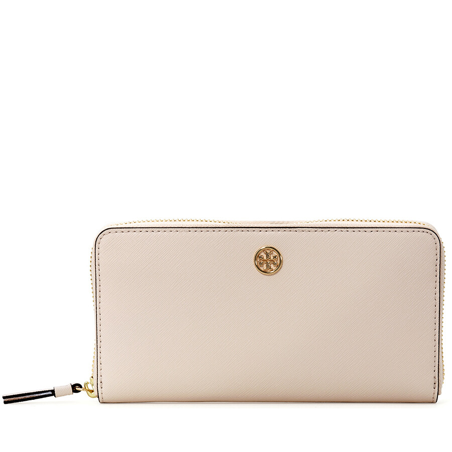13e7f607a47 Tory Burch Robinson Zip Continental Wallet- Pale Apricot / Royal Navy Item  No. 45254-688
