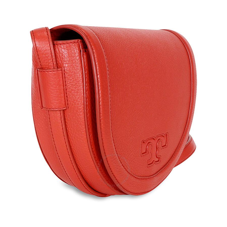 c6531a23ed29 Tory Burch Serif-T Leather Saddle Bag - Vermilion - Tory Burch ...