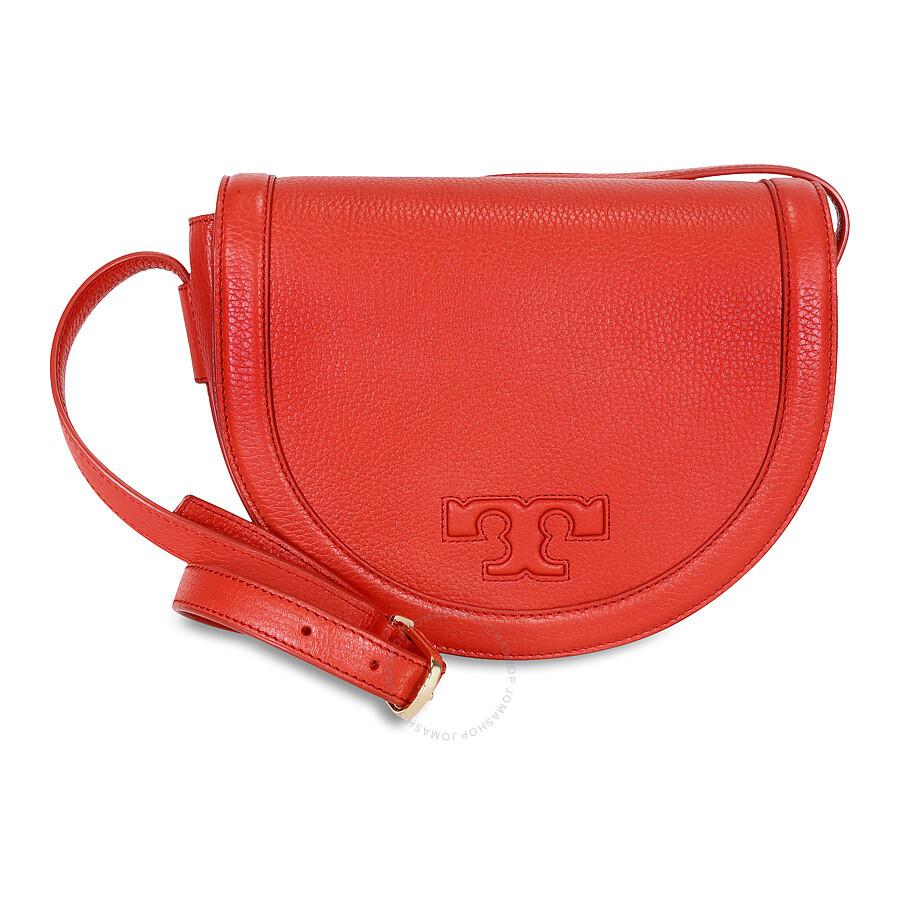 4cd2035d7f93 Tory Burch Serif-T Leather Saddle Bag - Vermilion Item No. 52159799-602