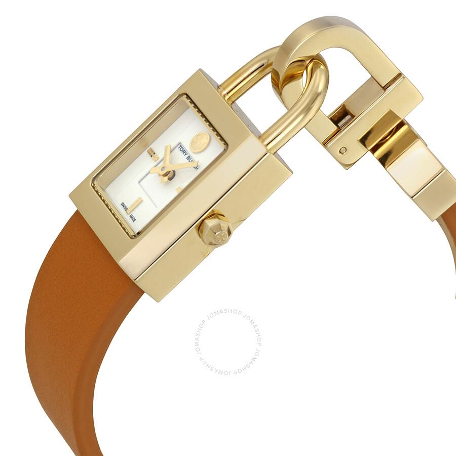 3ada3644a22 ... Tory Burch Surrey Ivory Dial Luggage Leather Ladies Watch TRB7001 ...