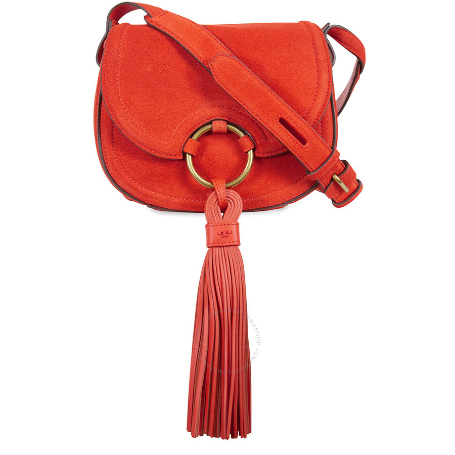 fe7651ffc33f17 Tory Burch Tassel Mini Suede Leather Saddlebag - Pure Orange Item No.  33664-802