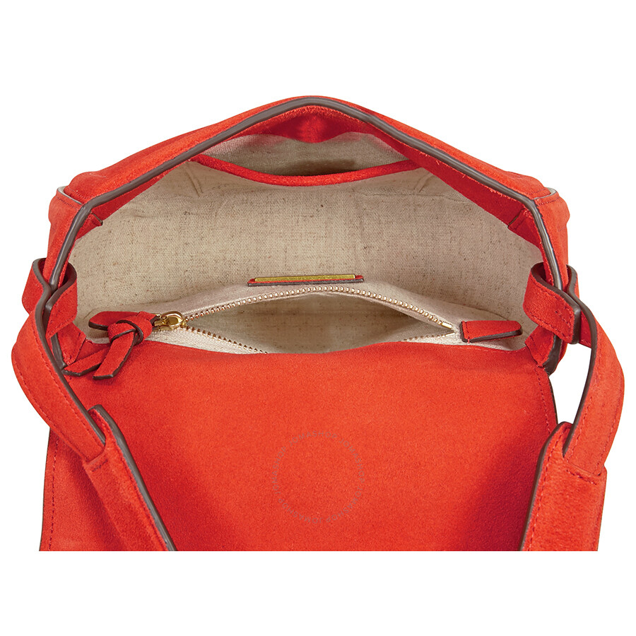 13e66843235 Tory Burch Tassel Mini Suede Leather Saddlebag - Pure Orange - Tory ...