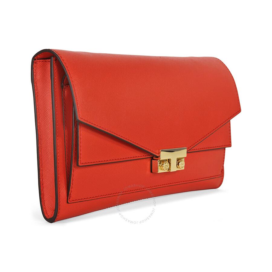 3e8a8d58c599 Tory Burch T-Lock Saffiano Leather Clutch - Masaai Red Item No. 12159757