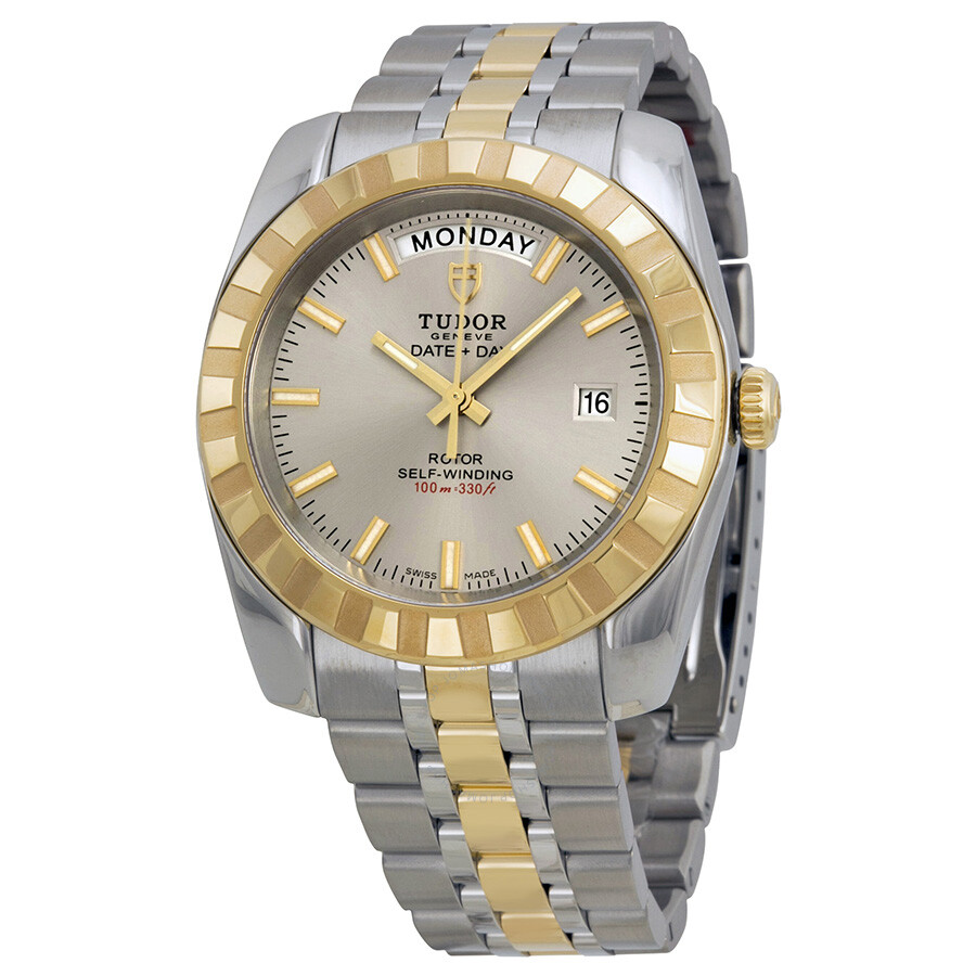 tudor date and day classic automatic beige stainless