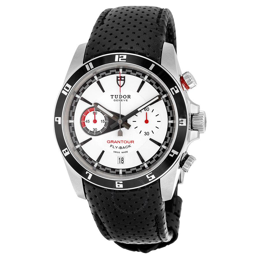591aa272a77 Tudor Grantour White Dial Black Leather Men's Watch 20550N-WMCPL ...