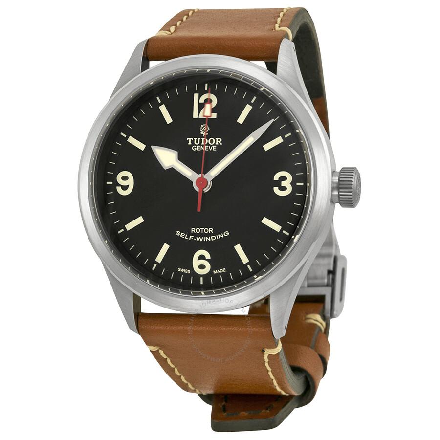 tudor heritage ranger automatic black brown leather