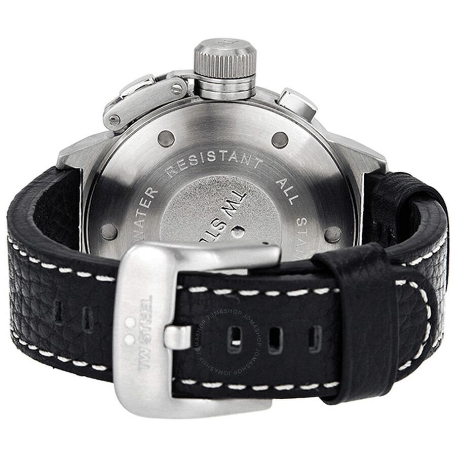 876b94123 ... TW Steel Canteen 50mm Black Leather Strap Chronograph Men's Watch TW3