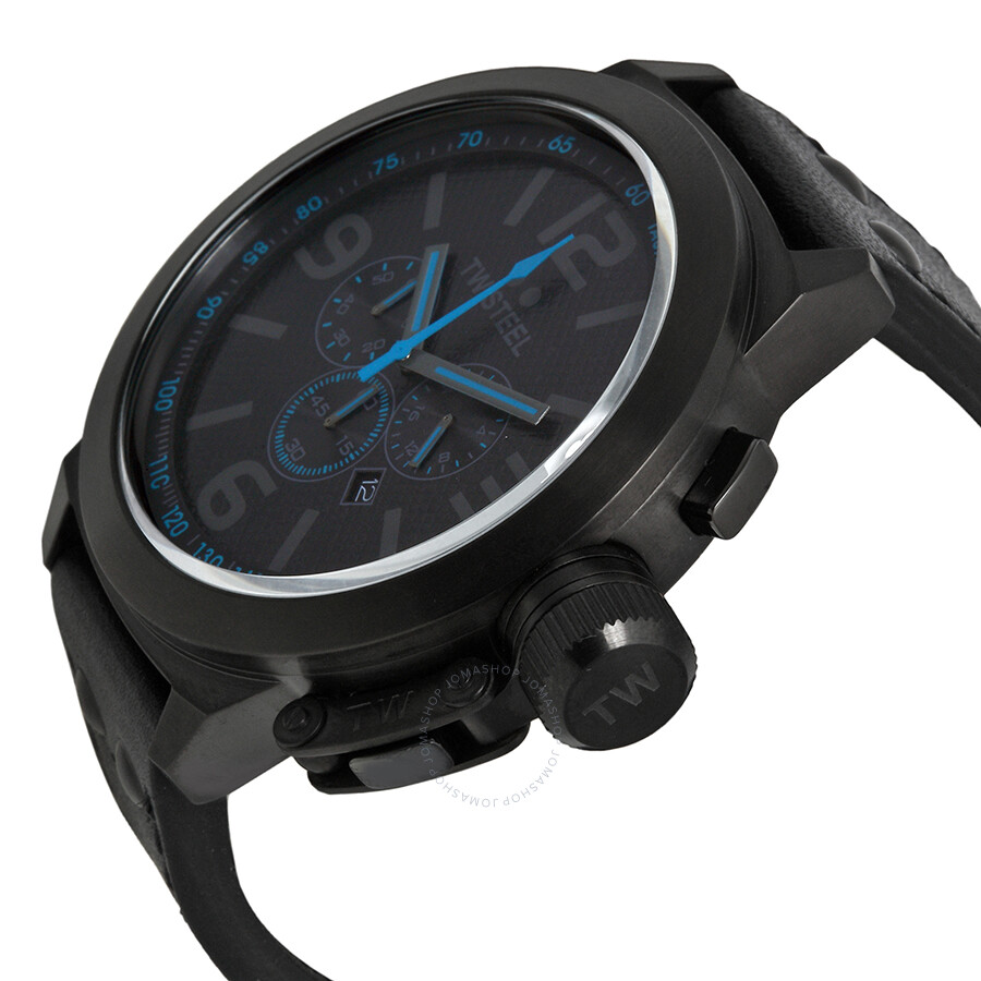 ff647bf43db ... TW Steel Canteen Cool Black and Blue Chronograph 50mm Men s Watch TW905  ...