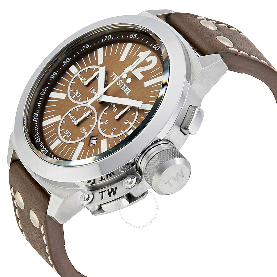 tw steel ceo 50mm chronograph brown brown leather