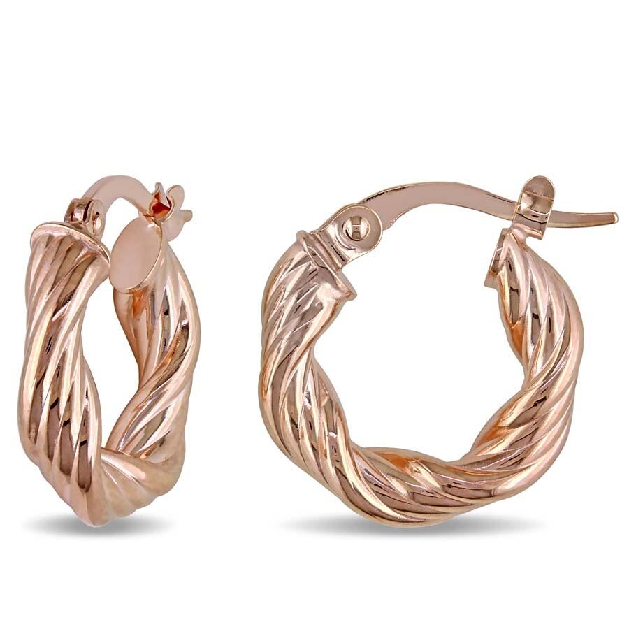 7bdcade080438 Twisted Hinged Hoop Earrings in Textured 10k Rose Gold JMS004696