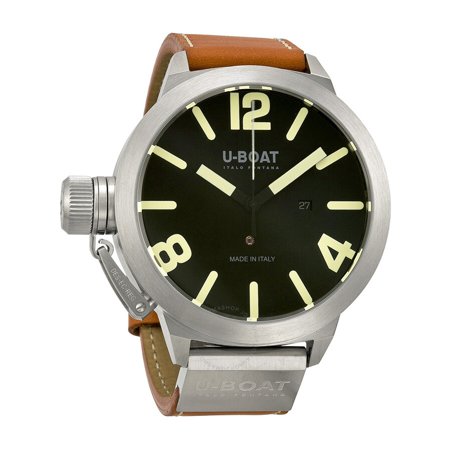 u boat classico as black automatic brown leather