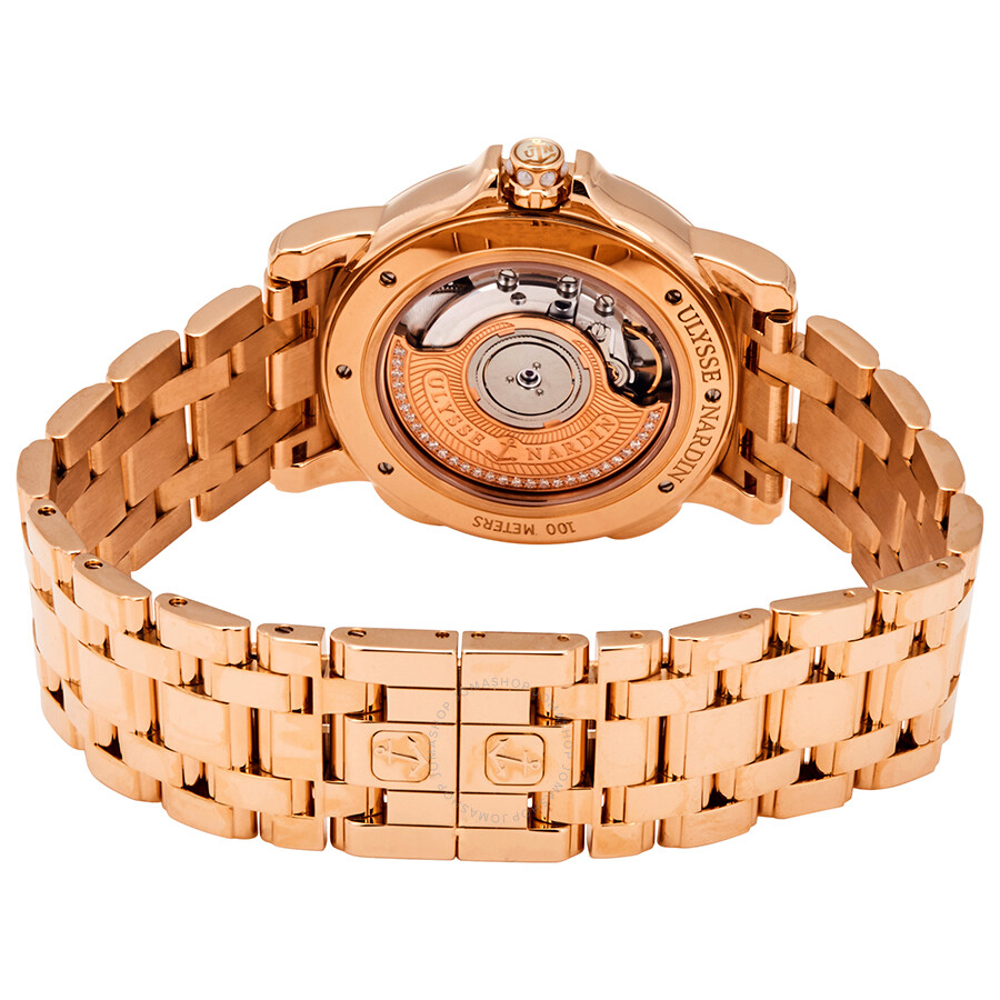 GMT Dual Time Mother of Pearl Dial 18kt Polished Rose Gold Automatic Ladies Watch 246-22-8-391