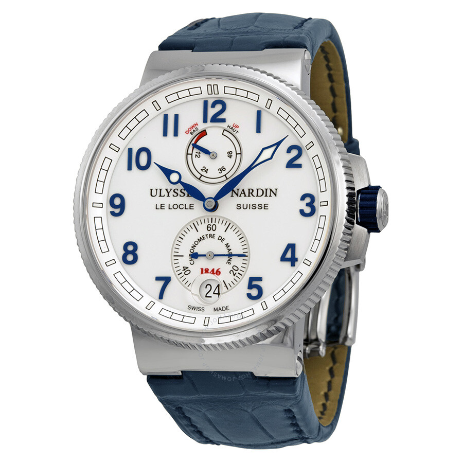 Ulysse nardin marine automatic chronometer white dial blue leather men 39 s watch 1183 126 60 for Marine watches