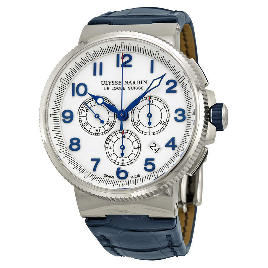 Ulysse nardin marine chronograph white dial automatic men 39 s watch 1503 150 60 maxi marine for Marine watches