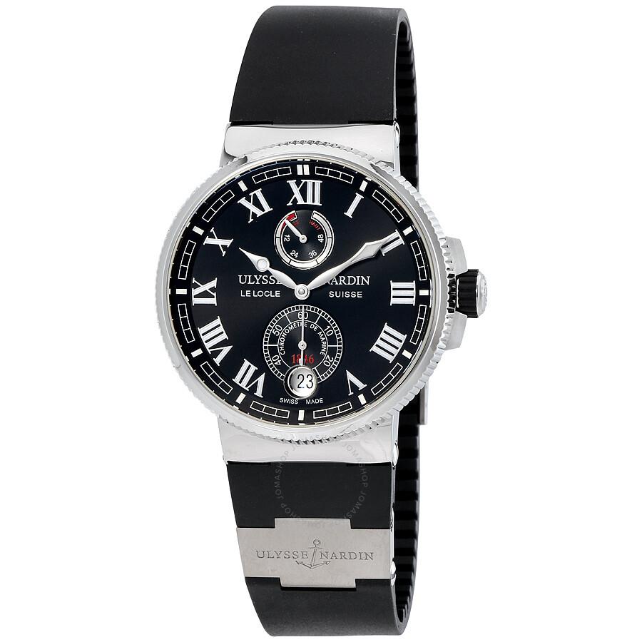 91f45e992c15 Ulysse Nardin Marine Chronometer Automatic Black Dial Black Rubber Men s  Watch 1183-126-3 ...