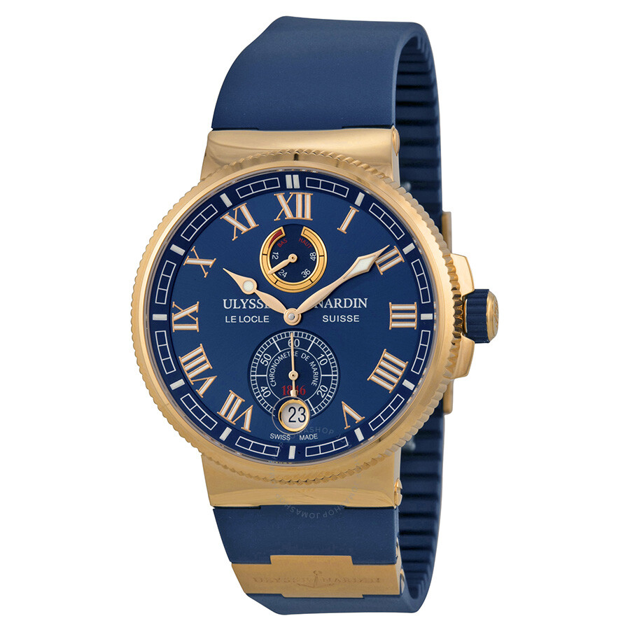 Ulysse Nardin Marine Chronometer Blue Dial 18kt Rose Gold Men's Watch 1186-126-3  ...