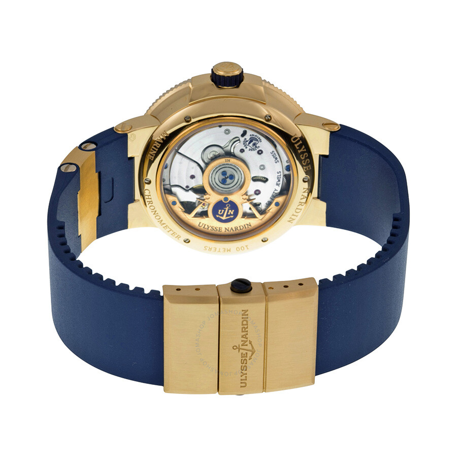 ... Ulysse Nardin Marine Chronometer Blue Dial 18kt Rose Gold Men's Watch  1186-126-3