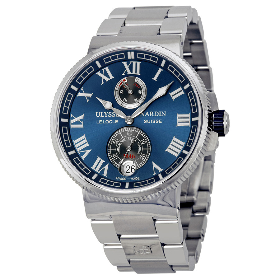 Ulysse Nardin Marine Chronometer Blue Dial Men's Watch 1183-126-7M-43 ...