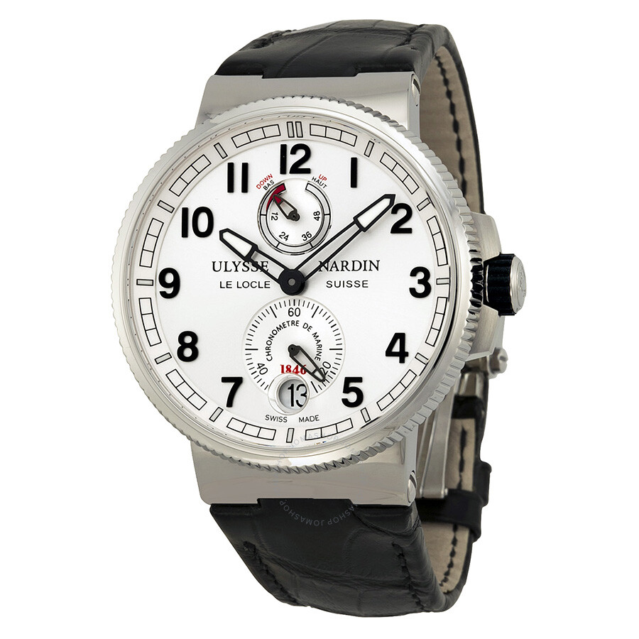 Ulysse nardin marine chronometer black alligator leather men 39 s watch 1183 126 61 maxi marine for Marine watches
