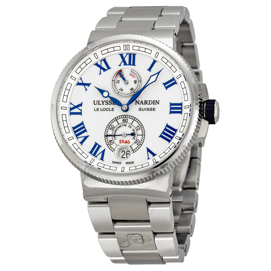 cbf076909fe3 Ulysse Nardin Marine Chronometer White Dial Stainless Steel Men s Watch 1183 -126-7M-40 Item No. 1183-126-7M 40
