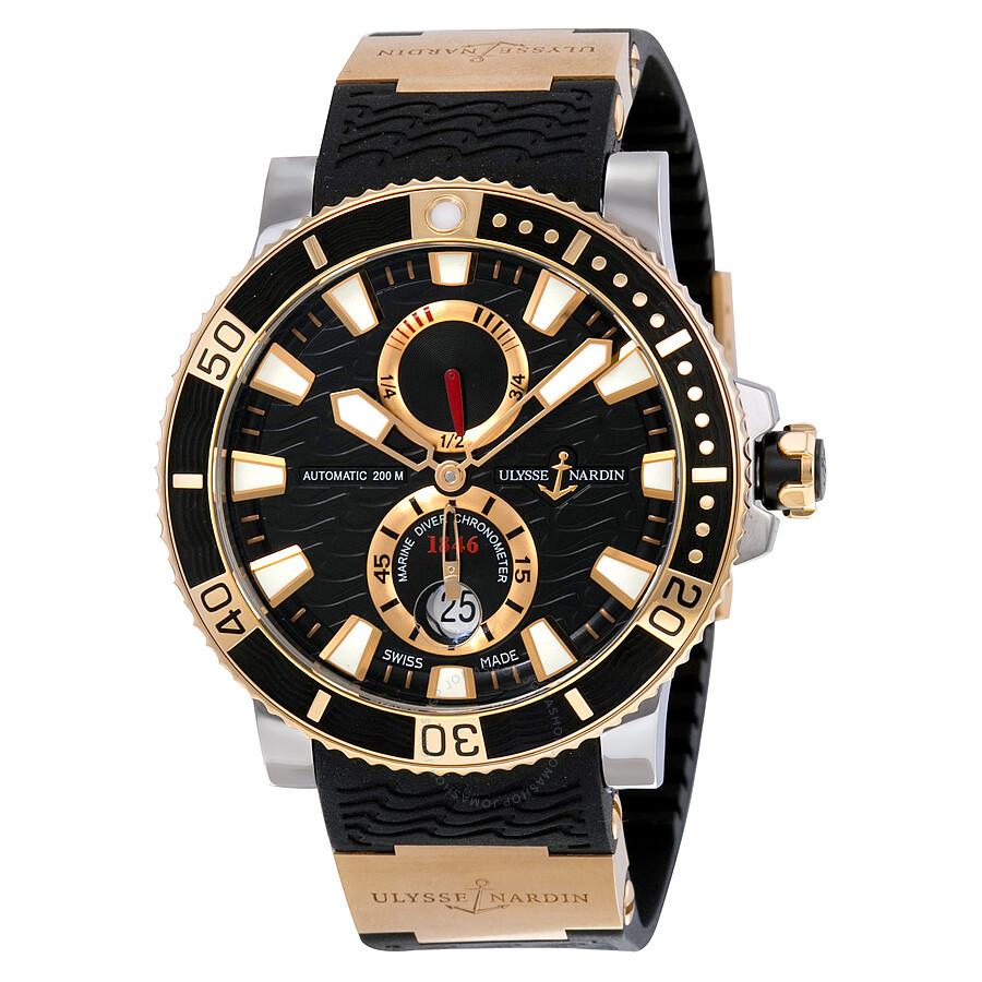 Ulysse Nardin Maxi Marine Diver Black Dial 18K Rose Gold ...
