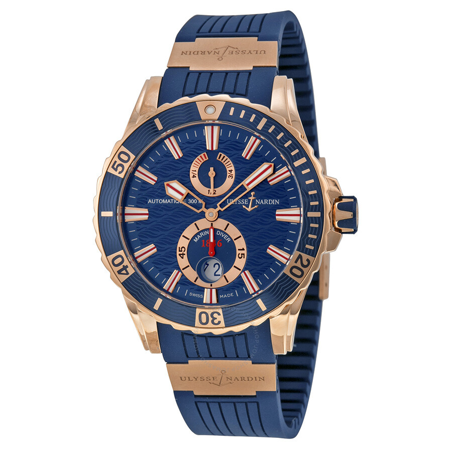 Ulysse Nardin Maxi Marine Diver Blue Dial 18kt Rose Gold Men S Watch
