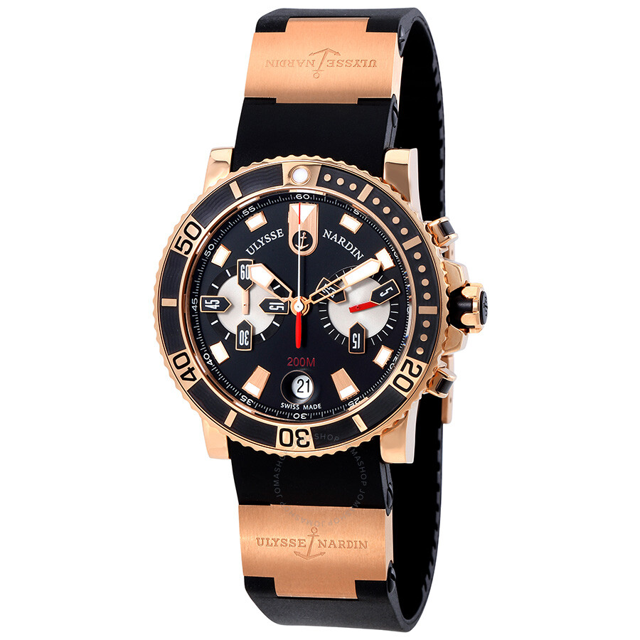 cc1bfe3a7cdc Ulysse Nardin Maxi Marine Diver Chronograph Black Dial 18 Carat Rose Gold  Case Black Rubber Band
