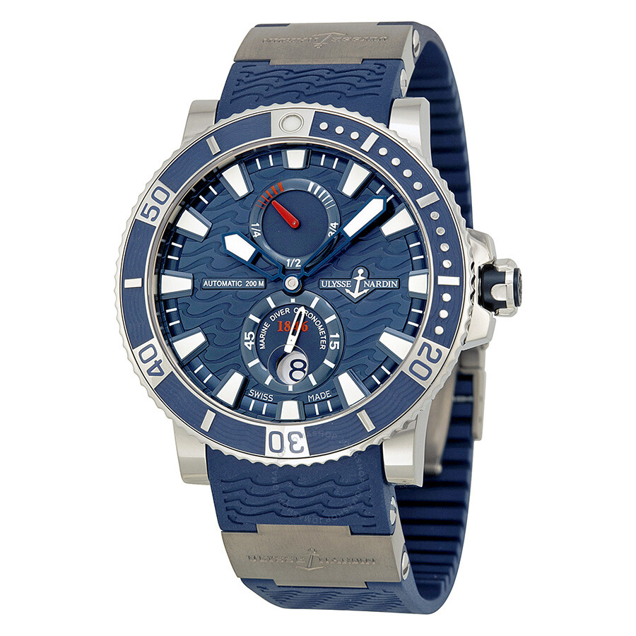 Ulysse nardin maxi marine diver titanium blue dial blue rubber men 39 s watch 263 90 3 93 maxi for Marine watches