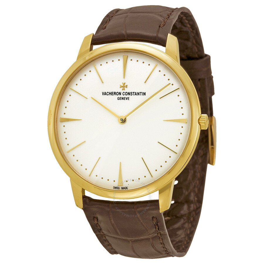 Vacheron constantin patrimony grand taille manual wind silver dial brown leather men 39 s watch for Vacheron constantin