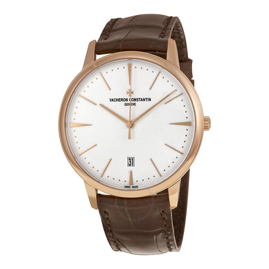Vacheron constantin patrimony silver opaline dial dark brown leather men 39 s watch 85180 000r 9248 for Vacheron constantin