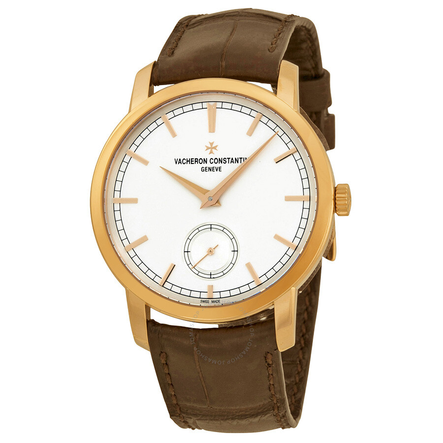 Vacheron constantin traditionnelle manual wind silver dial brown leather men 39 s watch 82172000r for Vacheron constantin