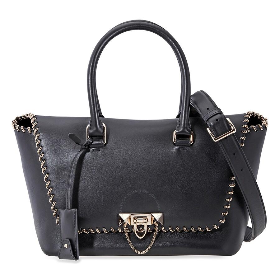 505425ebc3 Valentino Demilune Double Handle Leather Tote- Black Item No. B0A47MRU