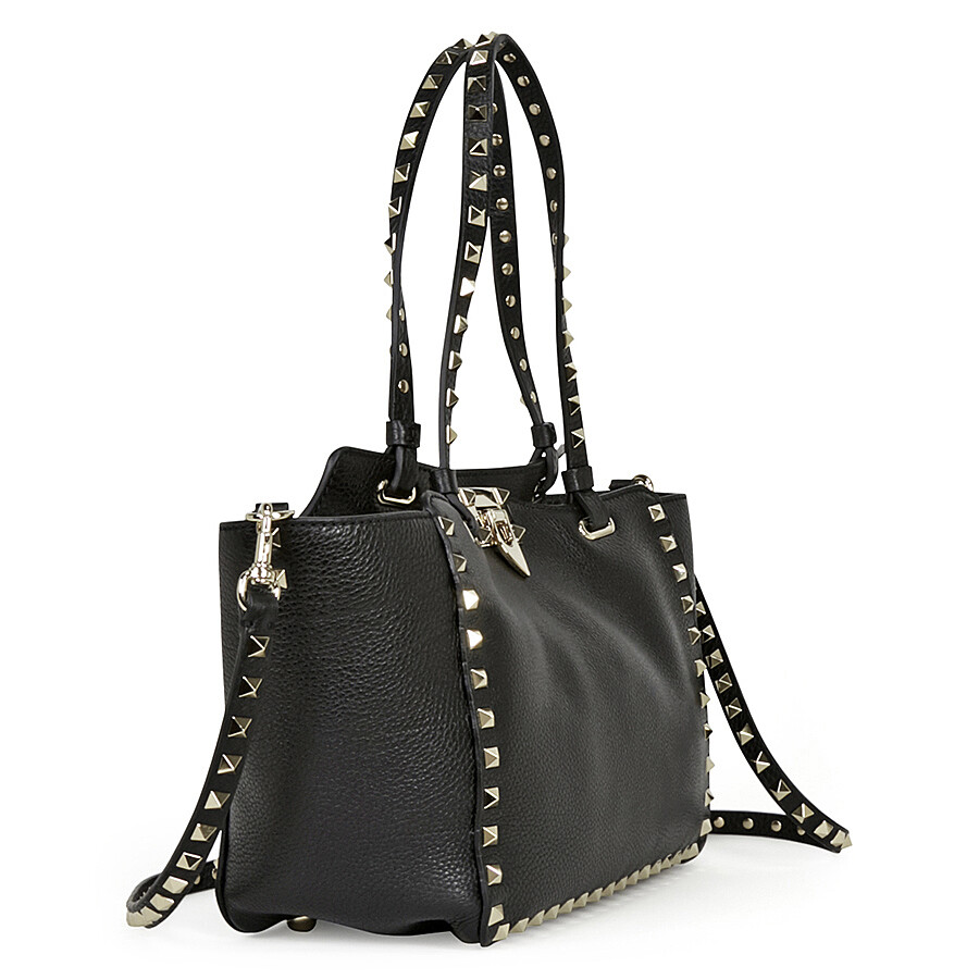 Valentino Garavani Rockstud Small Leather Tote Black