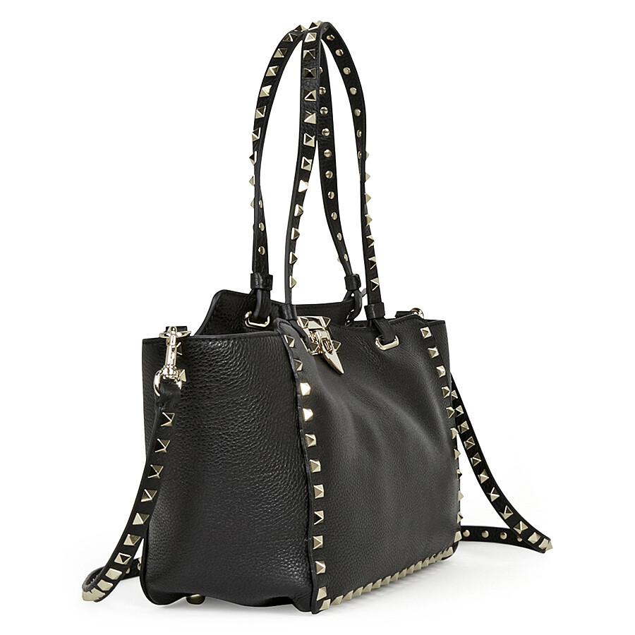 16b15a844ab Valentino Garavani Rockstud Small Leather Tote - Black - Valentino ...