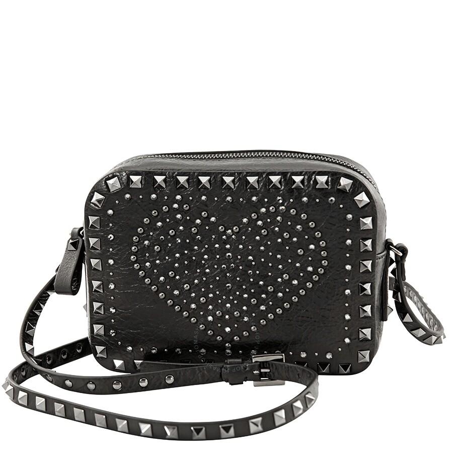 88f3ea2a0b Valentino Punk Heart Rockstud Camera Bag- Black Item No. QW2B0809MRD-0NO