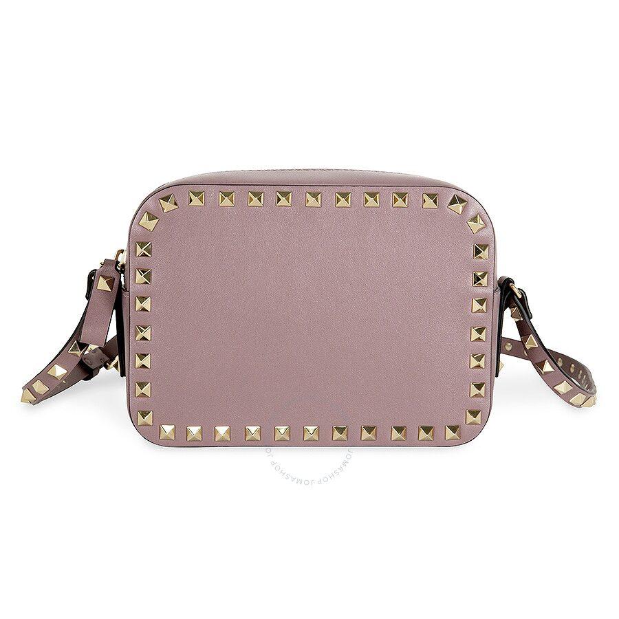 982d9ffa65 Valentino Rockstud Alce Leather Camera Bag - Dark Mauve Item No.  LW2B0809BOL-U31