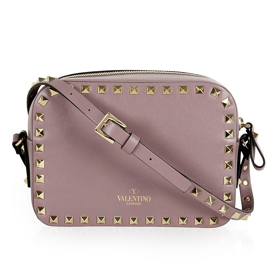 ca8c24348e7d Valentino Rockstud Alce Leather Camera Bag - Dark Mauve - Valentino ...