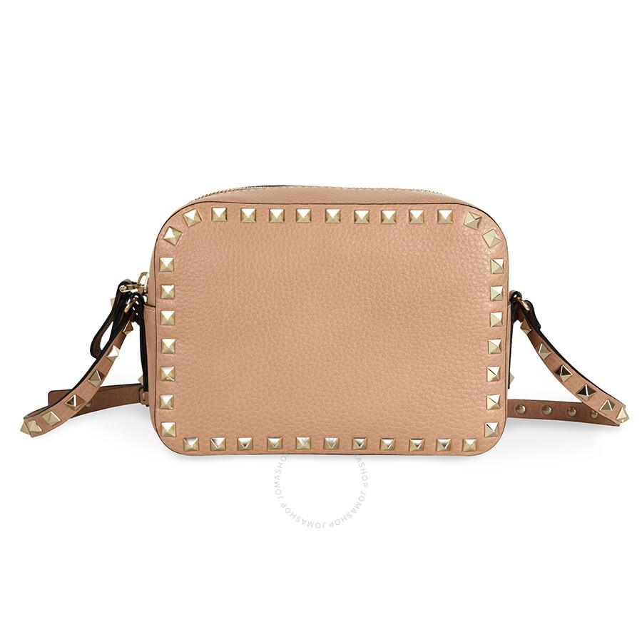 ... Valentino / Valentino Rockstud Alce Leather Camera Bag - Soft Noisette