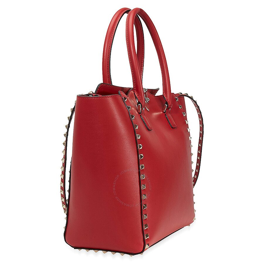 689108cd75 Valentino Rockstud Double Handle Leather Tote - Rosso V. - Valentino ...