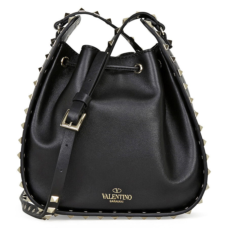 valentino rockstud leather bucket bag black valentino handbags jomashop. Black Bedroom Furniture Sets. Home Design Ideas