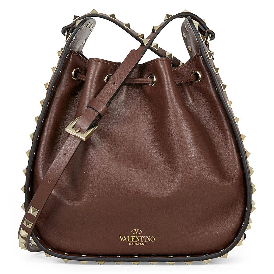 valentino rockstud leather bucket bag brown valentino handbags jomashop. Black Bedroom Furniture Sets. Home Design Ideas