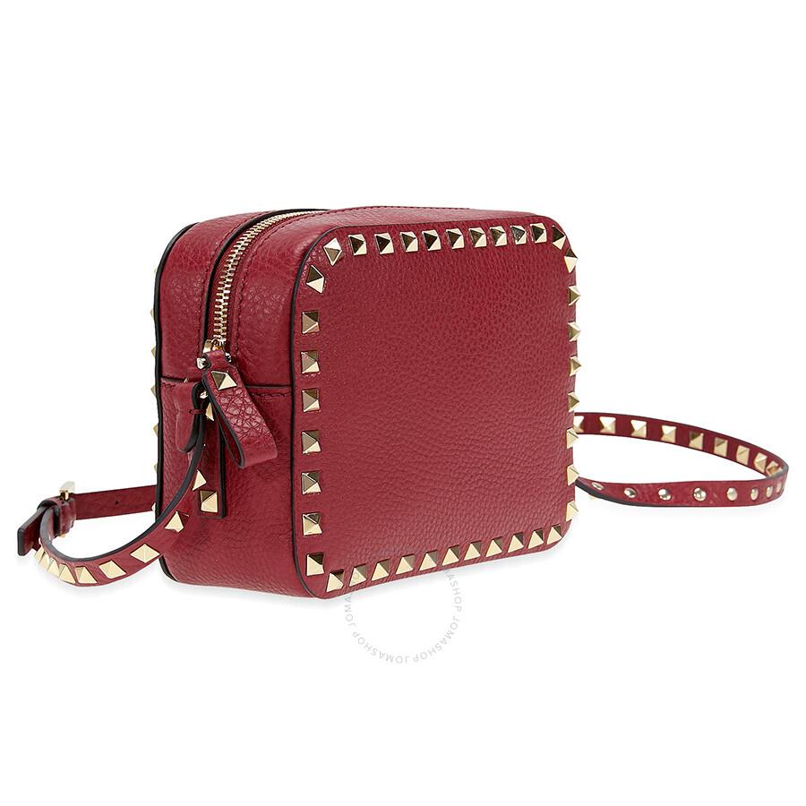 9c4cf1277ef0 Valentino Rockstud Leather Camera Bag - Rubino - Valentino ...