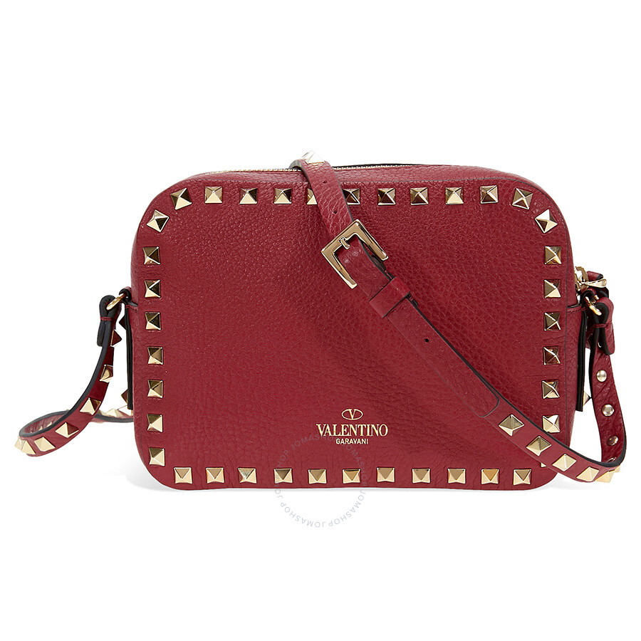 valentino rockstud leather camera bag rubino valentino handbags jomashop. Black Bedroom Furniture Sets. Home Design Ideas