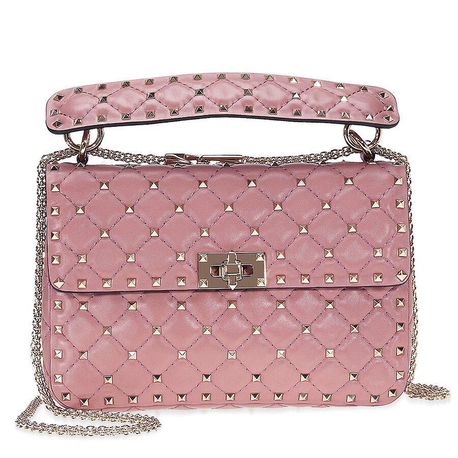 06acd26983f Valentino Rockstud Medium Leather Shoulder Bag - Old Pink ...