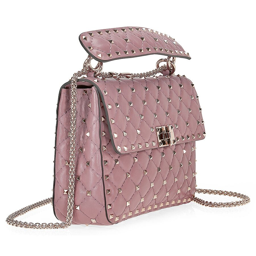Valentino Rockstud Medium Leather Shoulder Bag - Old Pink Item No. B0122NAP- 677 9cc27c6ced6fe
