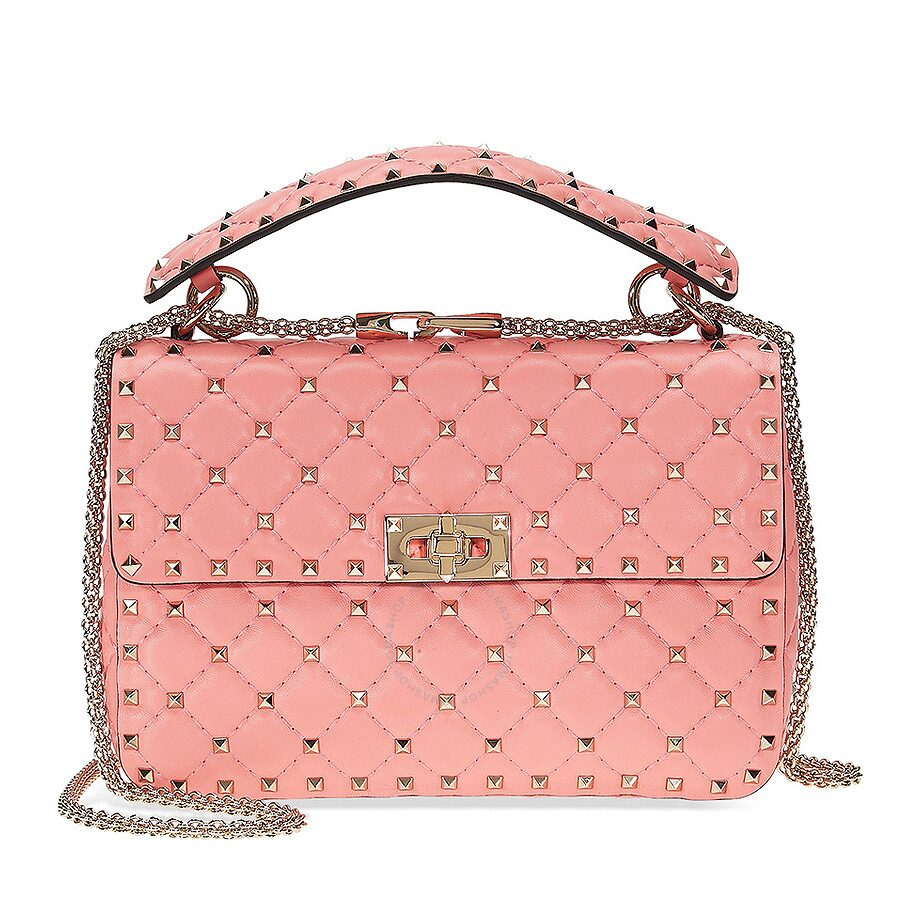 Valentino Rockstud Medium Leather Shoulder Bag - Paradise Pink Item No.  B0122NAP-996 f2fafa12f7