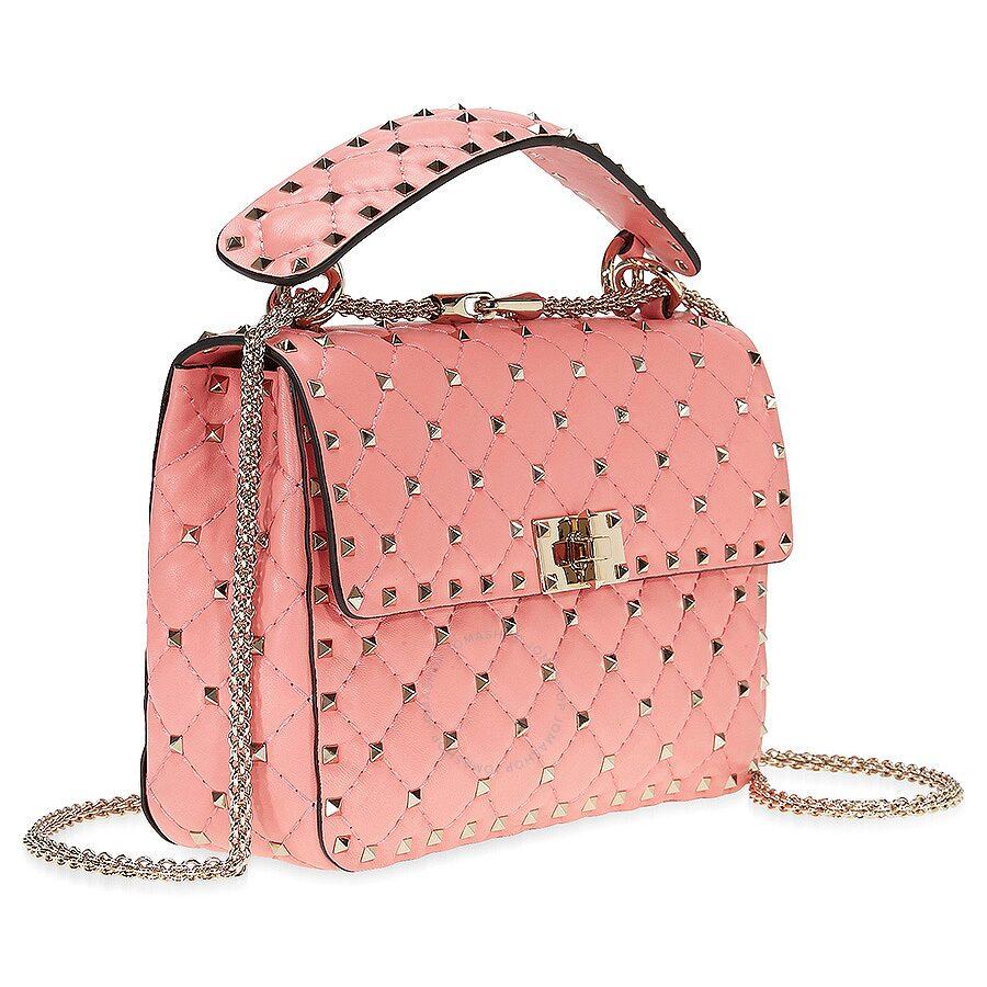 Valentino Rockstud Medium Leather Shoulder Bag Paradise Pink