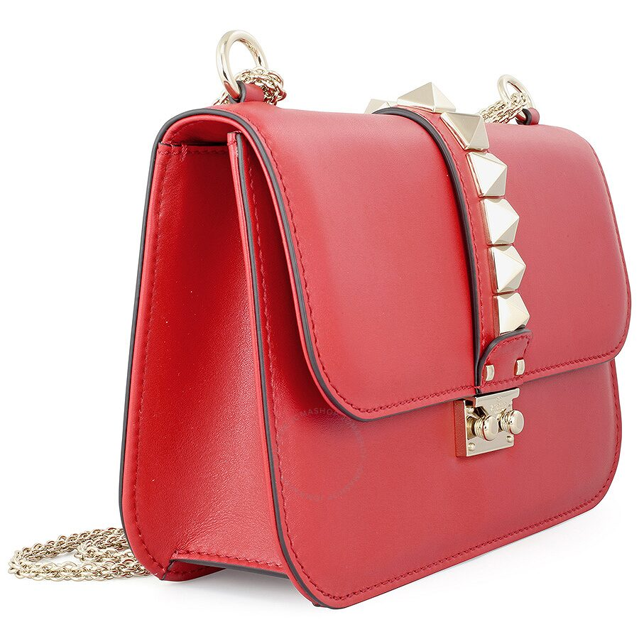 91b930b2a1 Valentino Rockstud Lock Medium Leather Shoulder Bag - Red ...