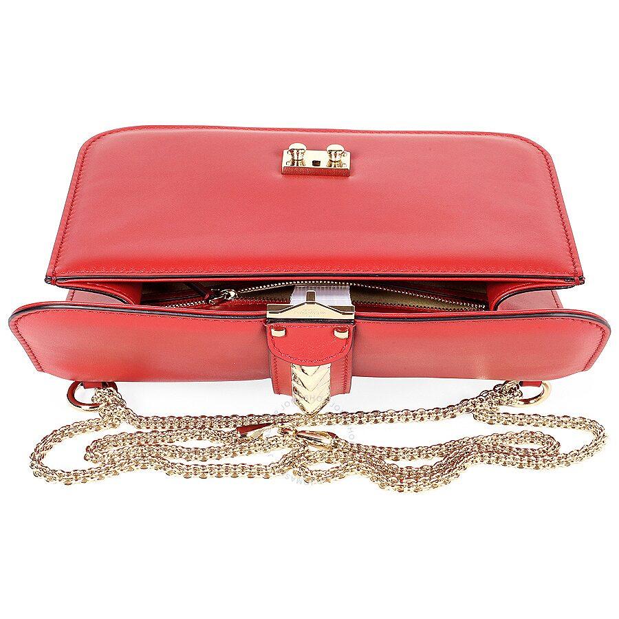325168da708e9 Valentino Rockstud Lock Medium Leather Shoulder Bag - Red ...